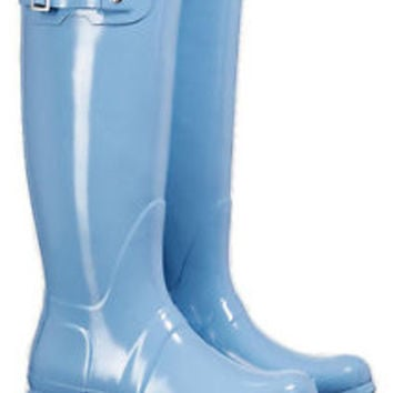 HUNTER ORIGINAL TALL GLOSS PALE BLUE WELLINGTON BOOTS Welly Pastel SZ 9 BN