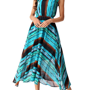 Color Block Drawstring Waist Boho Dress