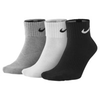 Nike 3 Pairs 1 Pack Cushion Quarter Socks Sports Gym Black White Grey SX4703-901