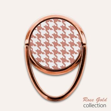 Rose Gold Houndstooth Phone Ring Finger Holder Mount Stand Grips