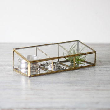 divided glass keepsake container by HRUSKAA on Etsy