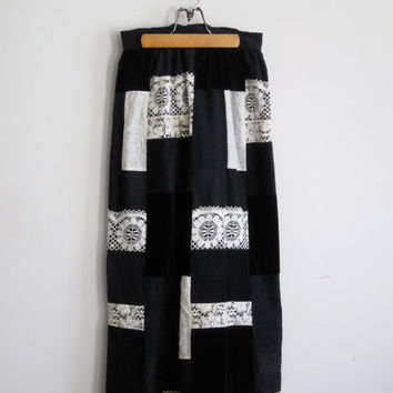 vintage patchwork maxi skirt black with lace by shantyirish