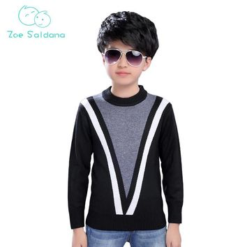 Zoe Saldana Boy's Knitwear 2017 New Winter Baby Boy Clothes Patchwork V Pattern Shirts Kids Casual Knitted Thick Warm Pullovers