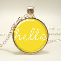 Hello Necklace, Yellow Jewelry, Cute Pendant (1559S1IN)
