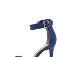 Point the Way Blue Ankle Strap Heels