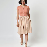 1950s Style Nude Floral Embossed High Waist Kate Swing Skirt