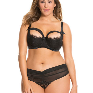 Draped Mesh balconette bra & Thong panty set | Lane Bryant