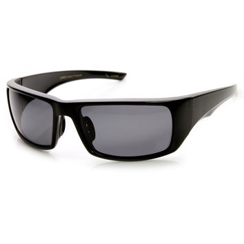 Mens Polarized Action Sports Wrap Around Sunglasses 9349