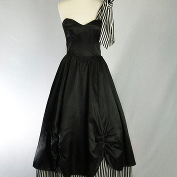 Vintage Gunne Sax Prom Dress Steampunk Black & White Stripe One Shoulder Big Bow