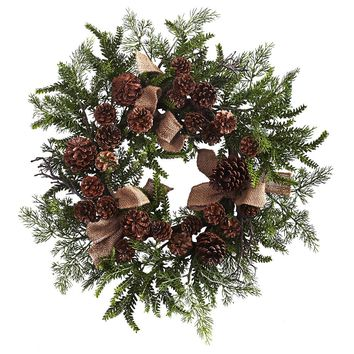 Silk Flowers -24 Inch Pine And Cone Wreath With Burlap Bows Artificial Plant