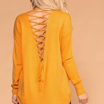 Maisley Mustard Lace Up Back Sweater Top