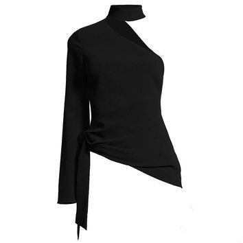 Asymmetric Blouse Black Fashion Sexy Women Autumn Casual Creative Shirts Party Prom Lace-Up Slim Short Goth Tops Blouse