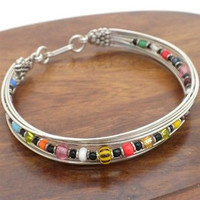 Silverplated Wire and Colorful Bead Bracelet - Zakali Creations