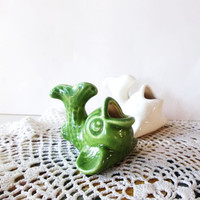 Ceramic FIsh. Toothpick HOlders. Set of 2. retro Kitsch
