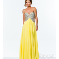 Yellow & Nude Sweetheart A-line Gown Prom 2015