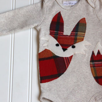 Fox Onesuit, Plaid Onesuit, Fox Baby Onesuit, Fox Shirt, Fox Bodysuit