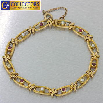 1880s Antique Victorian 15k Solid Yellow Gold Ruby Pearl Filigree Bracelet 12.6g