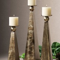 Cesano Bronze Candleholders, Set/3 By Uttermost