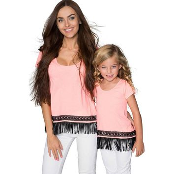 Boho High-Low Fringe Trim Casual T-Shirt Mother Daughter Matching Top