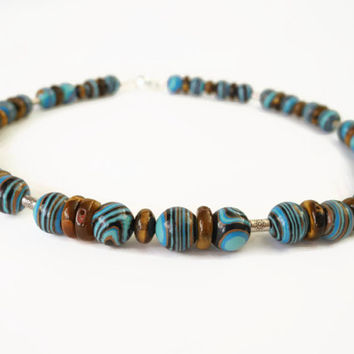 Turquoise brown necklace, handmade semi precious gemstone choker necklace of zebra agate, tigereye  and Thai silver  with magnetic clasp.