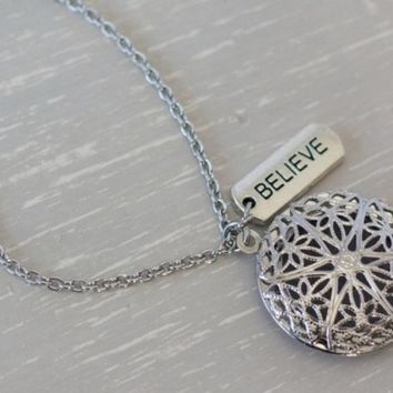 """Believe Silver Plated Diffuser Necklace 24"""" • Aromatherapy Diffuser Jewelry"""