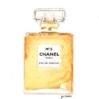 Chanel No.5 Eau de Parfum Fragrance - Watercolor Perfume bottle illustration