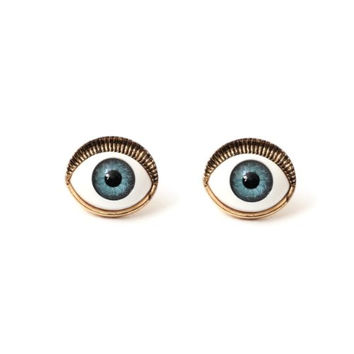 Occult Eye Ball Stud Earrings Blue Gold Tone ED03 Vintage Mystic Gothic Evil Nazar Posts Fashion Jewelry