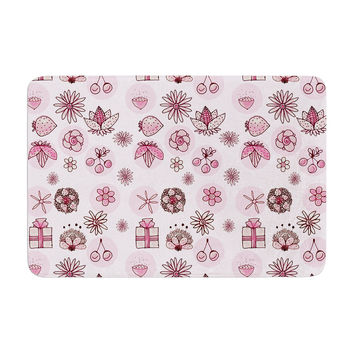 "Marianna Tankelevich ""Cute Stuff"" Pink Illustration Memory Foam Bath Mat"