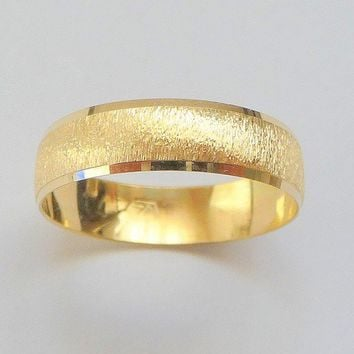 Wedding band 14k gold wedding ring for men and woman with deep sandblast finish and shiny stripes