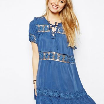 ASOS Premium Tencel Denim Smock Dress with Crochet Insert - Blue