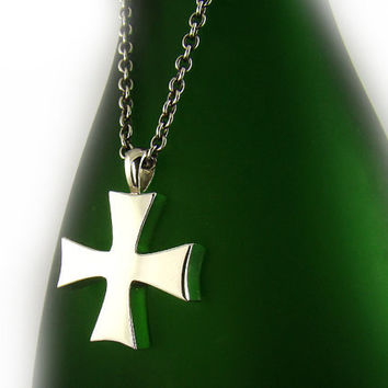 Mens Sterling Silver 925 Simple Gothic Cross Pendant Chain Necklace Set Charm 036SC