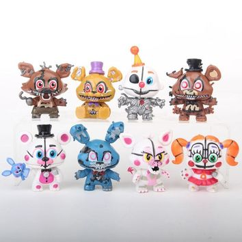 New 8Pcs/set Mine  At  Sister Location   Funtime Foxy Ballora Puppet Nightmare Freddy PVC Figures 6CM