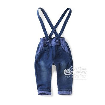 New 2016 spring autumn children's jeans for girls overalls kids clothes baby boys bib pants infant casual denim pants