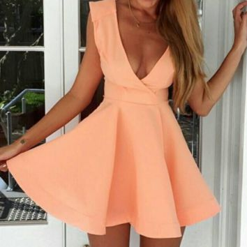 CUTE DEEP V ORANGE DRESS