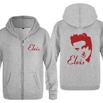 Men Hoodies Rock Music Elvis Presley Printed Hoodie Men Casual Winter Zipper Hooded Jacket Coat Male Outwear Sweatshirt