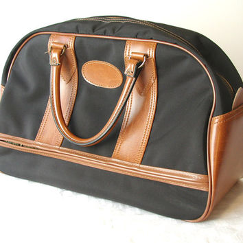 Pegasus Black & Brown Tote - Vintage Carry On With Lock and Keys
