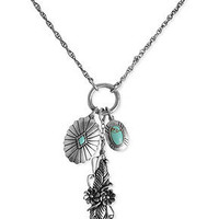 Lucky Brand Necklace, Silver-Tone Semi-Precious Reconstituted Turquoise Triple Charm Necklace - Fashion Necklaces - Jewelry & Watches - Macy's