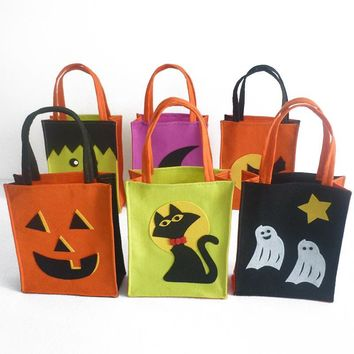 Mayitr 1pc Colorful Halloween Trick or Treat Bags Pumpkin Cat Ghost Pattern Kids Gift Bags with Handle Carnival Candy Tote Bags