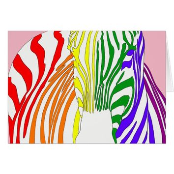 Rainbow Zebra Card
