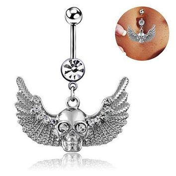Sparkling Wings Skull Rhinestone Body Piercing Belly Ring Button Navel Barbell Jewelry