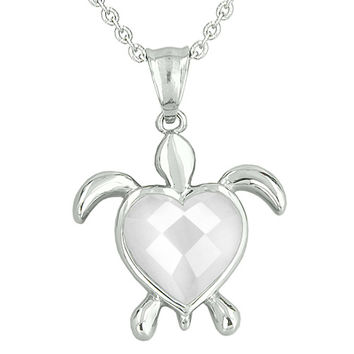Turtle Heart Powers Amulet White Cats Eye Faceted Positive Energies Pendant 18 Inch Necklace