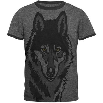 PEAPGQ9 Wolf Face All Over Heather-Black Men's Ringer T-Shirt