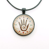 Spiral Hand Necklace with FREE SHIPPING. Handmade Boho pendant. Unisex jewelry.