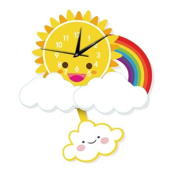 Child Wall Clock sticker, Cute Figures Modern Silent Clocks.