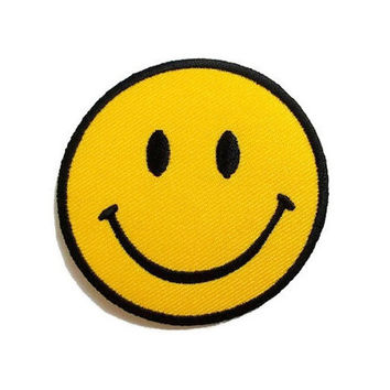 Smiley Face Yellow Patch New Iron On Patch Embroidered Applique Size 6.6cm.x6.6cm.