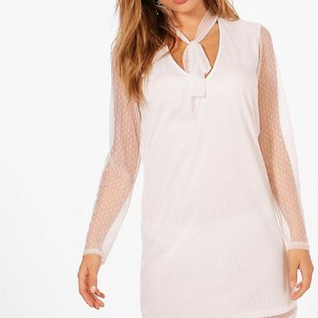 Miranda Dobby Mesh Shift Dress | Boohoo
