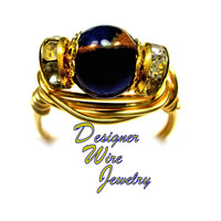 DWJ0296 Lovely Cobalt Blue Quartz with Pyrite Gold Wire Wrap Ring All Sizes