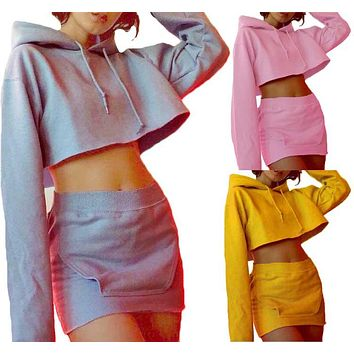 2 piece set women suit crop hoodie set top skirt female winter hooded two piece set