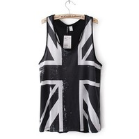 Black Union Jack Pattern Vest