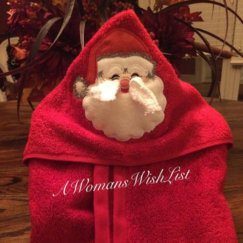 Santa Claus Hooded Bath Towel, Santa Hooded Towel for Baby's Bath Time, Christmas Gift for Kids, Baby Gift for Newborn